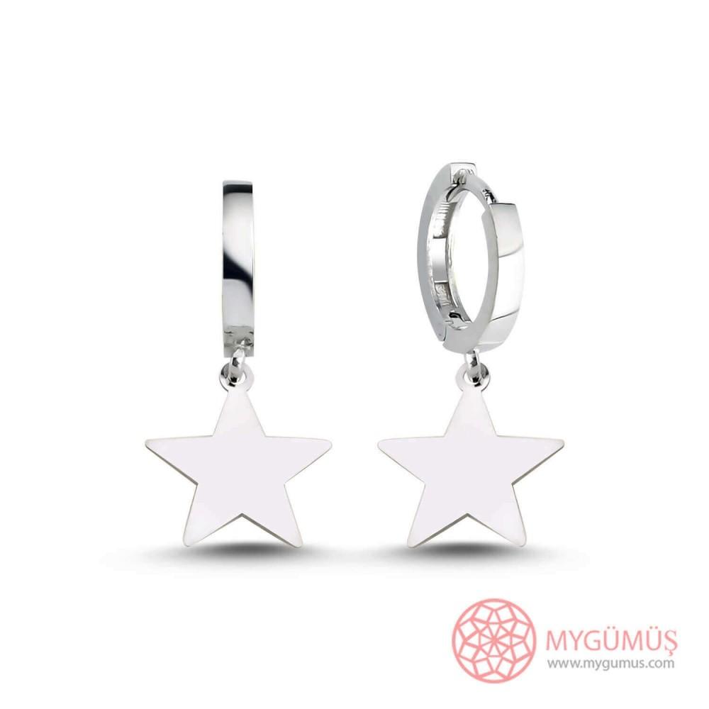 Yıldız Motifli Halka Gümüş Küpe MY101603 9936 Thumb