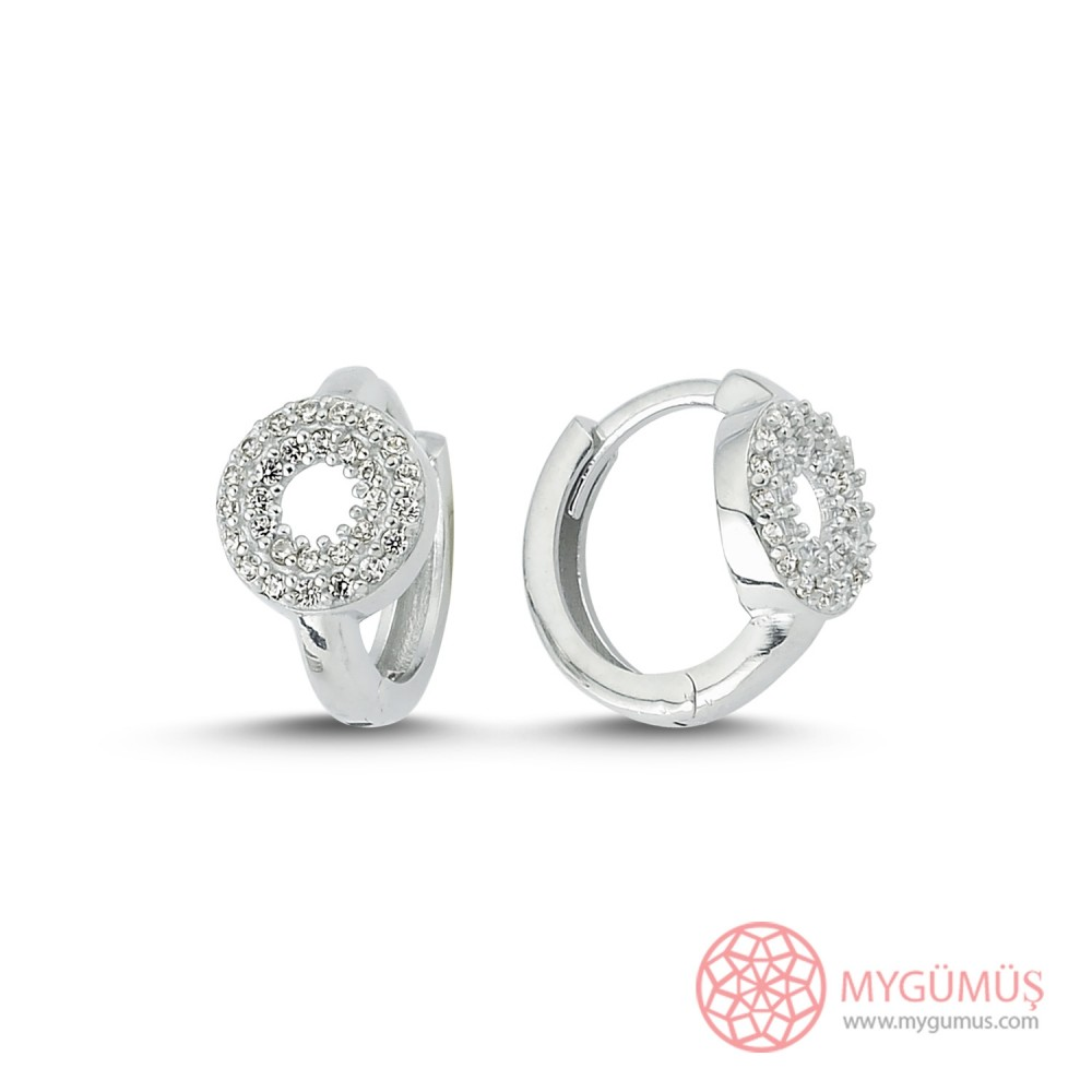 Yuvarlak Taş İşlemeli Halka Gümüş Küpe MYG052 9993 Thumb
