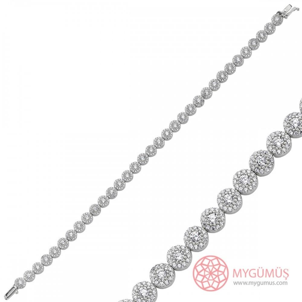 Yuvarlak Zirkon Taşlı Su Yolu Gümüş Bileklik Bayan MYB0012 10105 Thumb