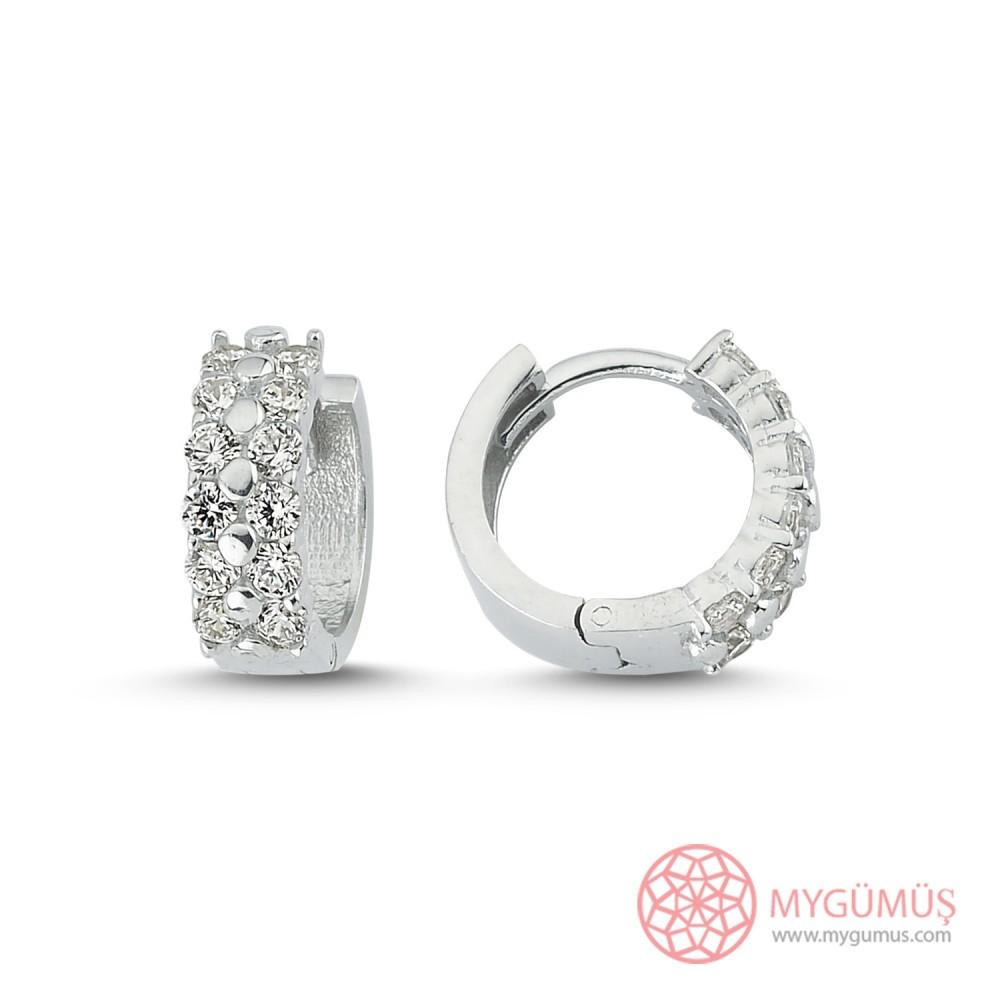 Zirkon Taş İşlemeli Halka Gümüş Küpe MYG051 9992 Thumb