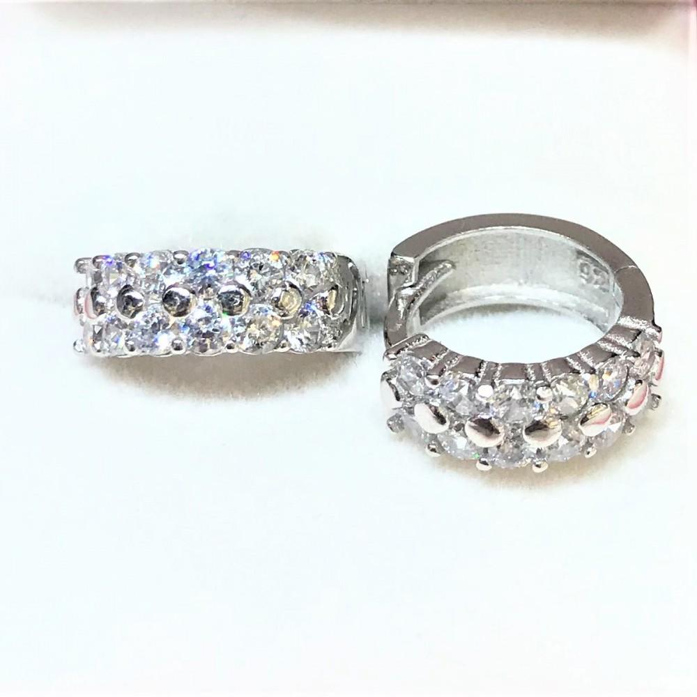 Zirkon Taş İşlemeli Halka Gümüş Küpe MYG051 14297 Thumb