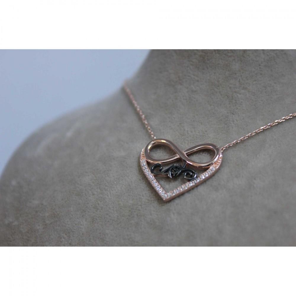 Safir Taşlı Aşk Sonsuzluk Kalp Kolye MY100076 6665 Thumb