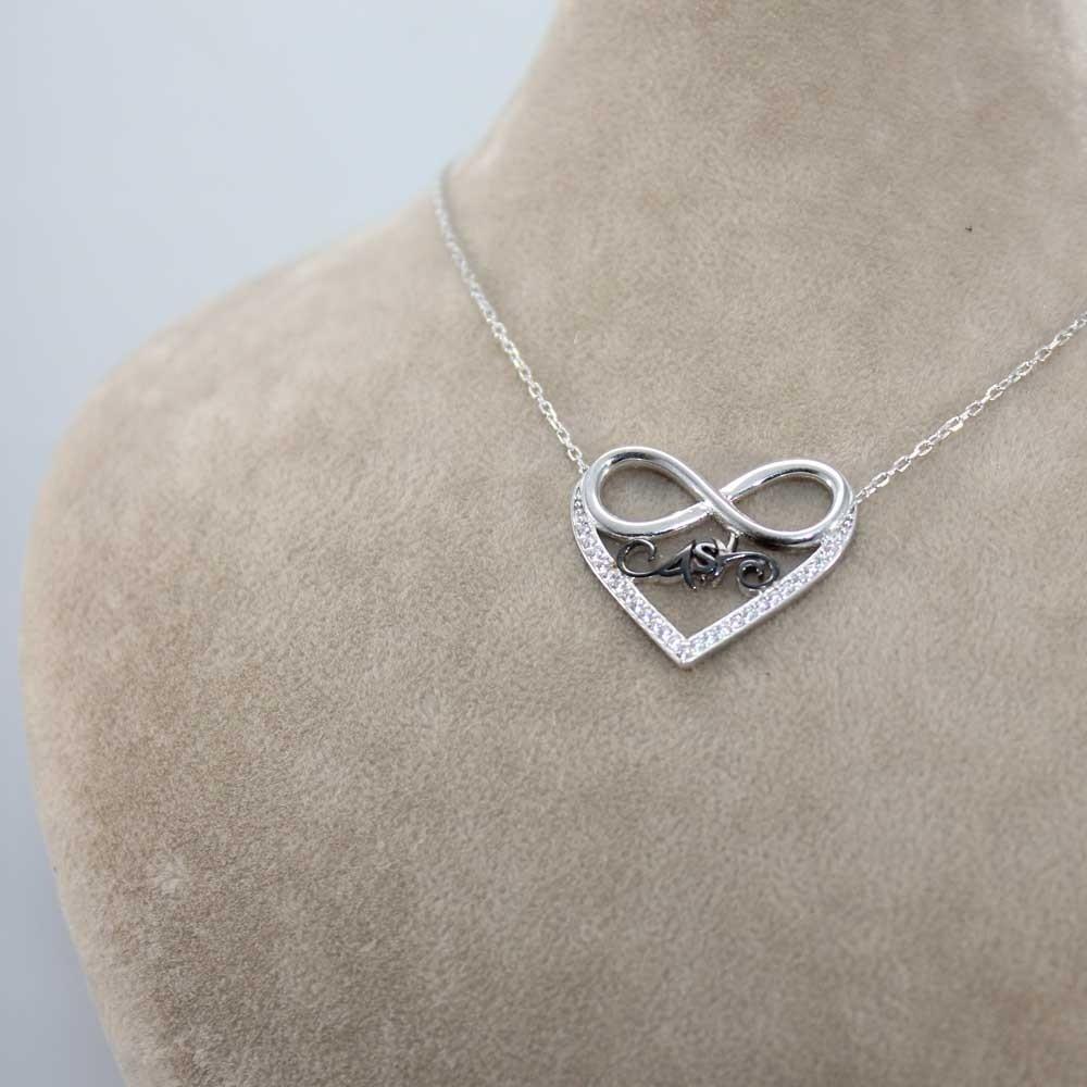 Zirkon Taşlı Aşk Sonsuzluk Kalp Gümüş Kolye MY100077 8221 Thumb