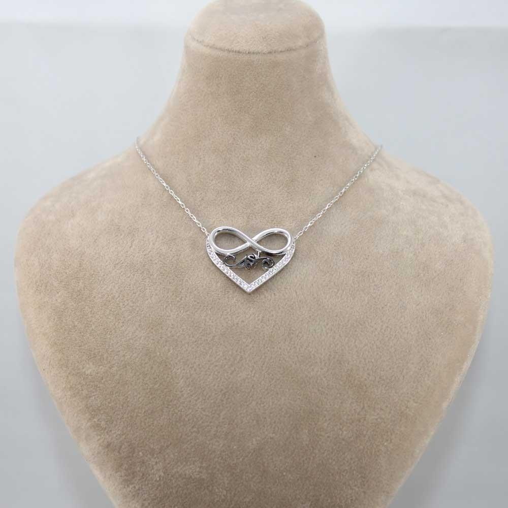 Zirkon Taşlı Aşk Sonsuzluk Kalp Gümüş Kolye MY100077 8222 Thumb