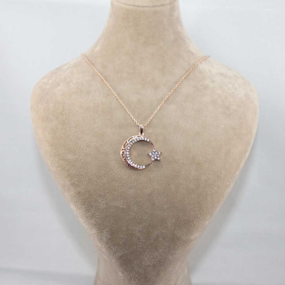 Zirkon Taşlı Ay Yıldız Gümüş Kolye MY101181 8668 Thumb