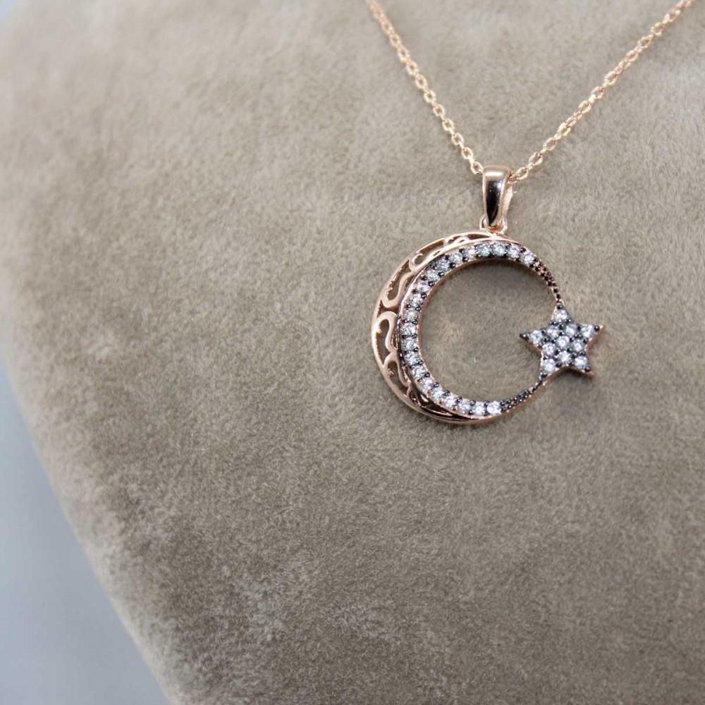 Zirkon Taşlı Ay Yıldız Gümüş Kolye MY101181 8670 Thumb