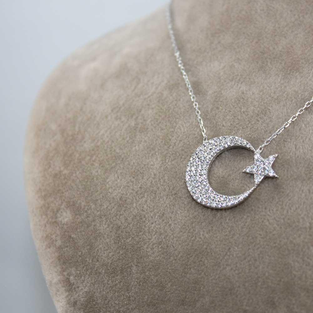 Zirkon Taşlı Ay Yıldız Gümüş Kolye MY0301055 7700 Thumb