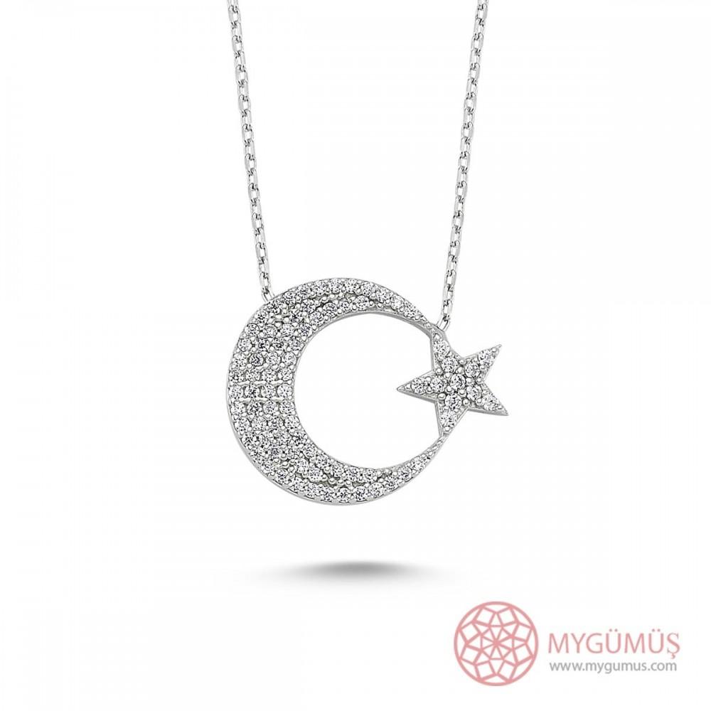Zirkon Taşlı Ay Yıldız Gümüş Kolye MY0301055 9504 Thumb