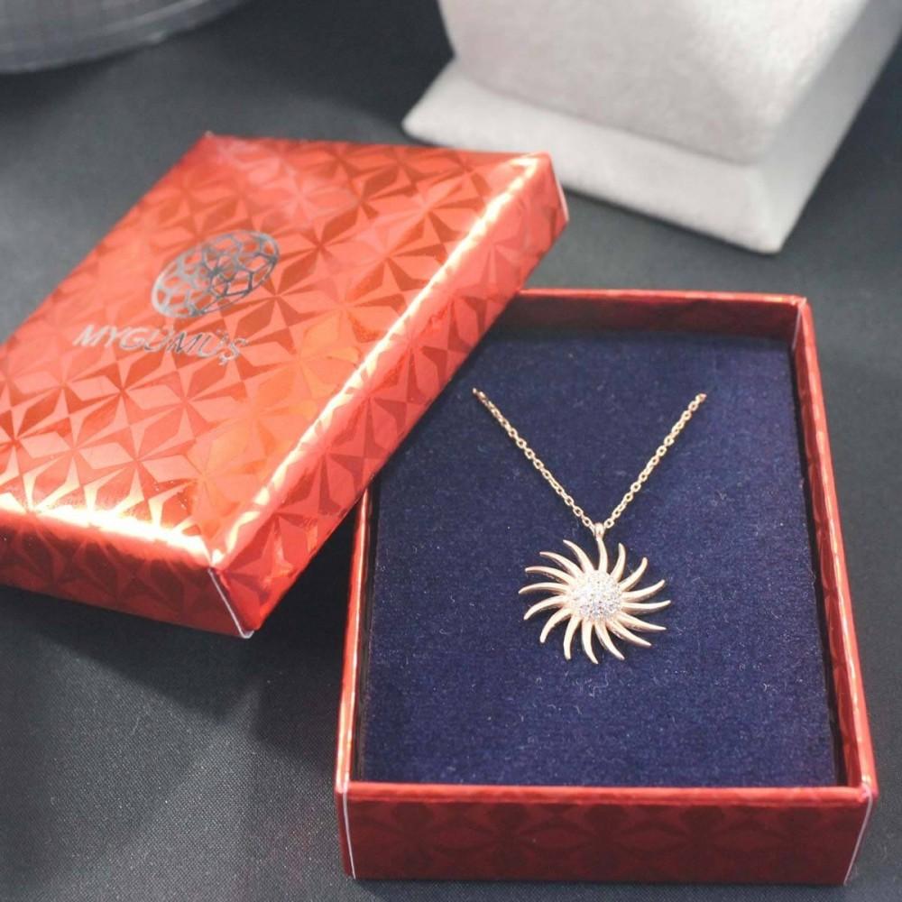 Zirkon Taşlı Güneş Gümüş Kolye MY101494 10328 Thumb