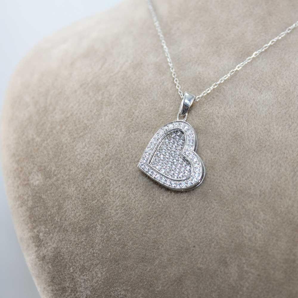 Taşlı Kalp İsimli Gümüş Kolye MY1000081 7953 Thumb
