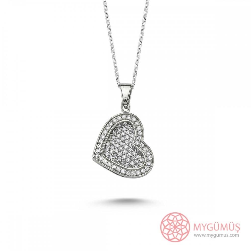 Taşlı Kalp İsimli Gümüş Kolye MY1000081 9461 Thumb