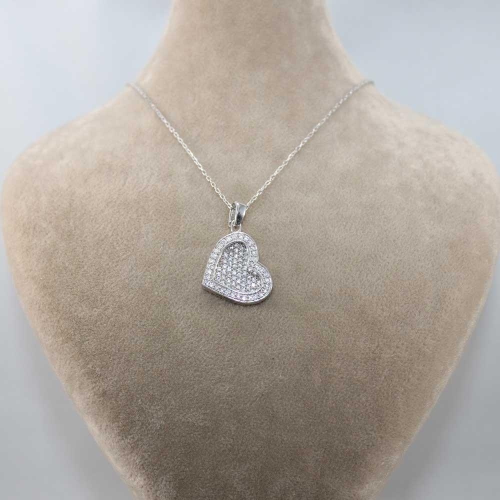 Taşlı Kalp İsimli Gümüş Kolye MY1000081 7951 Thumb