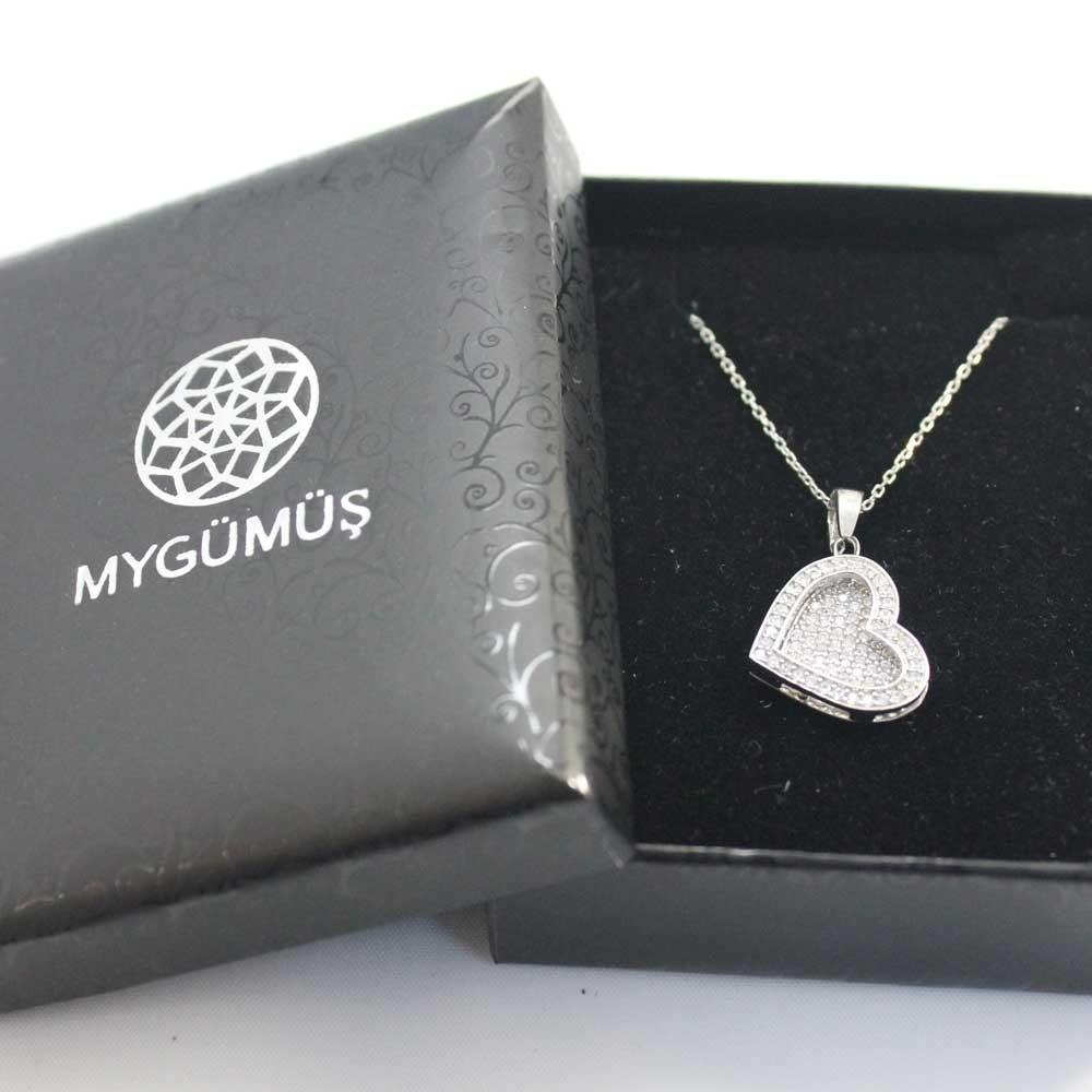 Taşlı Kalp İsimli Gümüş Kolye MY1000081 7952 Thumb