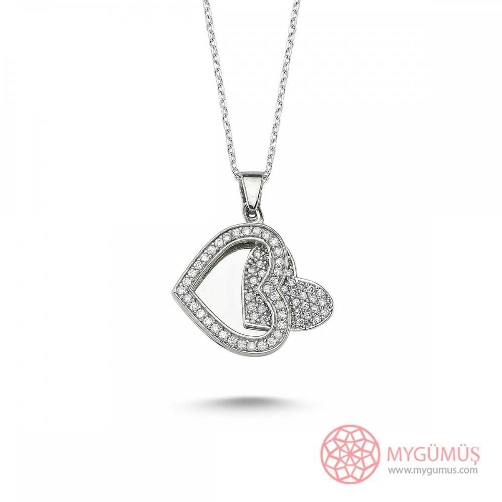 Taşlı Kalp İsimli Gümüş Kolye MY1000081 9460 Thumb