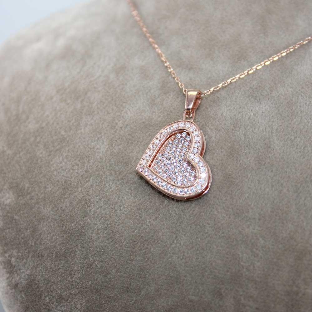 Taşlı Kalp Gümüş İsimli Kolye MY100082 7861 Thumb