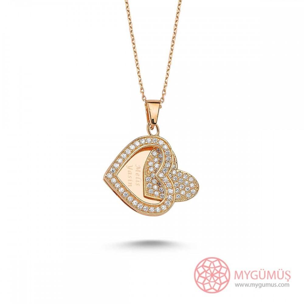 Taşlı Kalp Gümüş İsimli Kolye MY100082 9457 Thumb