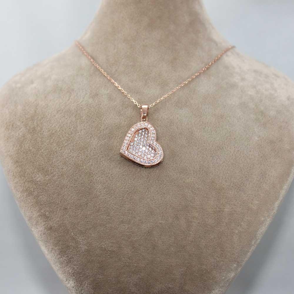 Taşlı Kalp Gümüş İsimli Kolye MY100082 7860 Thumb