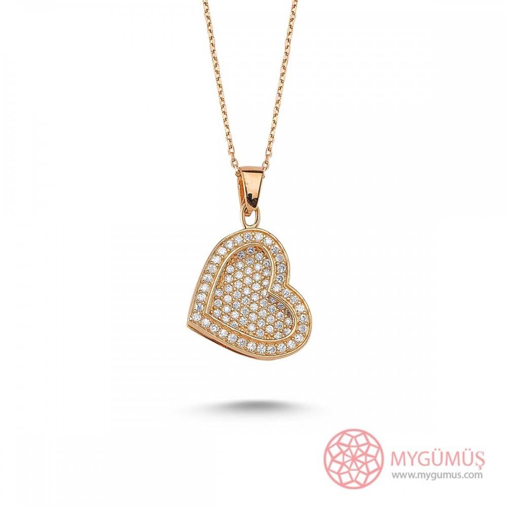 Taşlı Kalp Gümüş İsimli Kolye MY100082 9456 Thumb