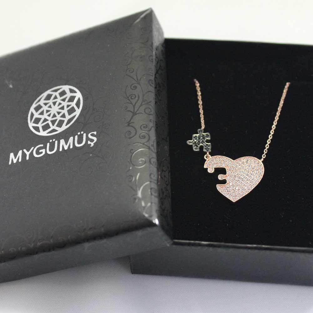 Zirkon Taşlı Kalbimin Parçası Puzzle Gümüş Kolye MY0301054 7704 Thumb