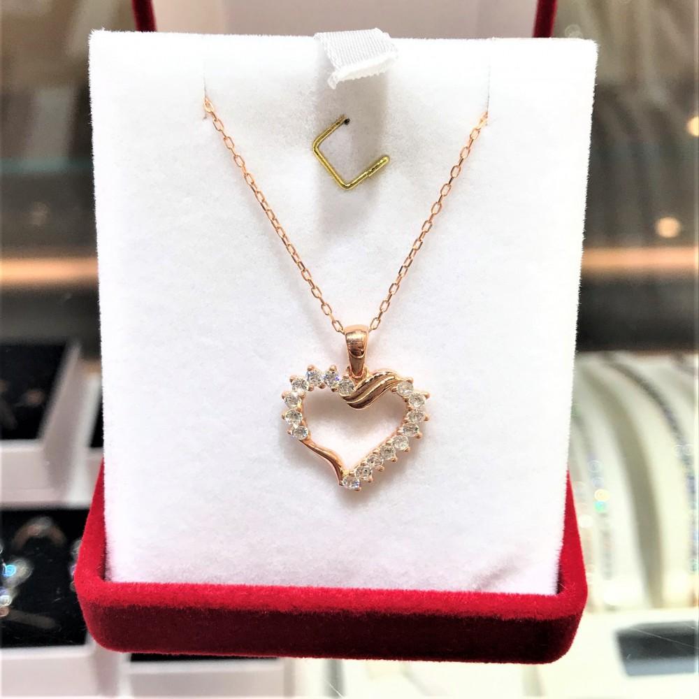 Zirkon Taşlı Kalp Gümüş Kolye MY101364 14334 Thumb