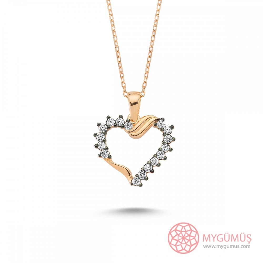 Zirkon Taşlı Kalp Gümüş Kolye MY101365 9562 Thumb