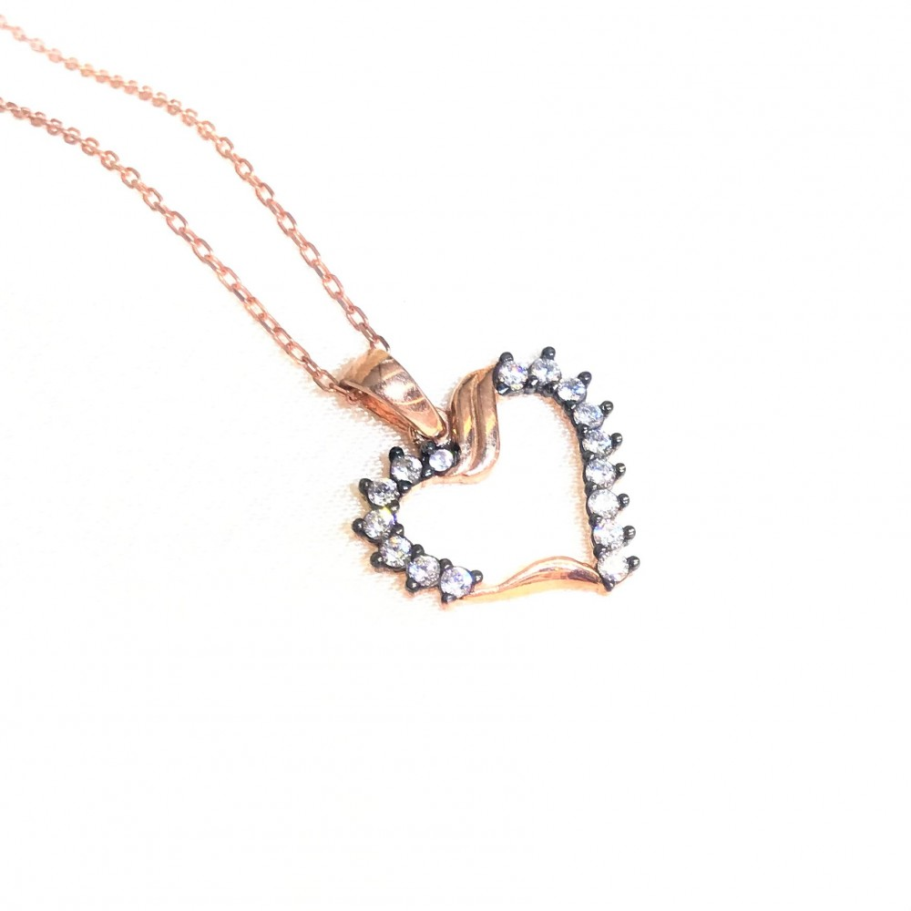 Zirkon Taşlı Kalp Gümüş Kolye MY101365 15002 Thumb