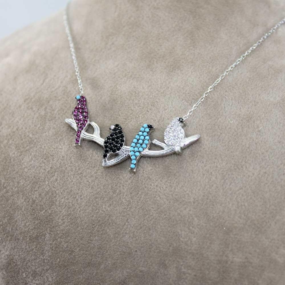 Zirkon Taşlı Kuşlar Gümüş Kolye MY100096 7930 Thumb