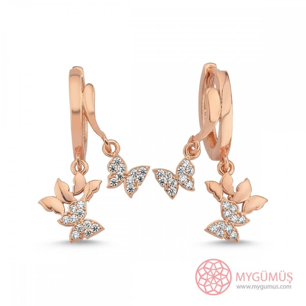 Zirkon Taşlı Minik Kelebekler Gümüş Küpe MYG102 10578 Thumb