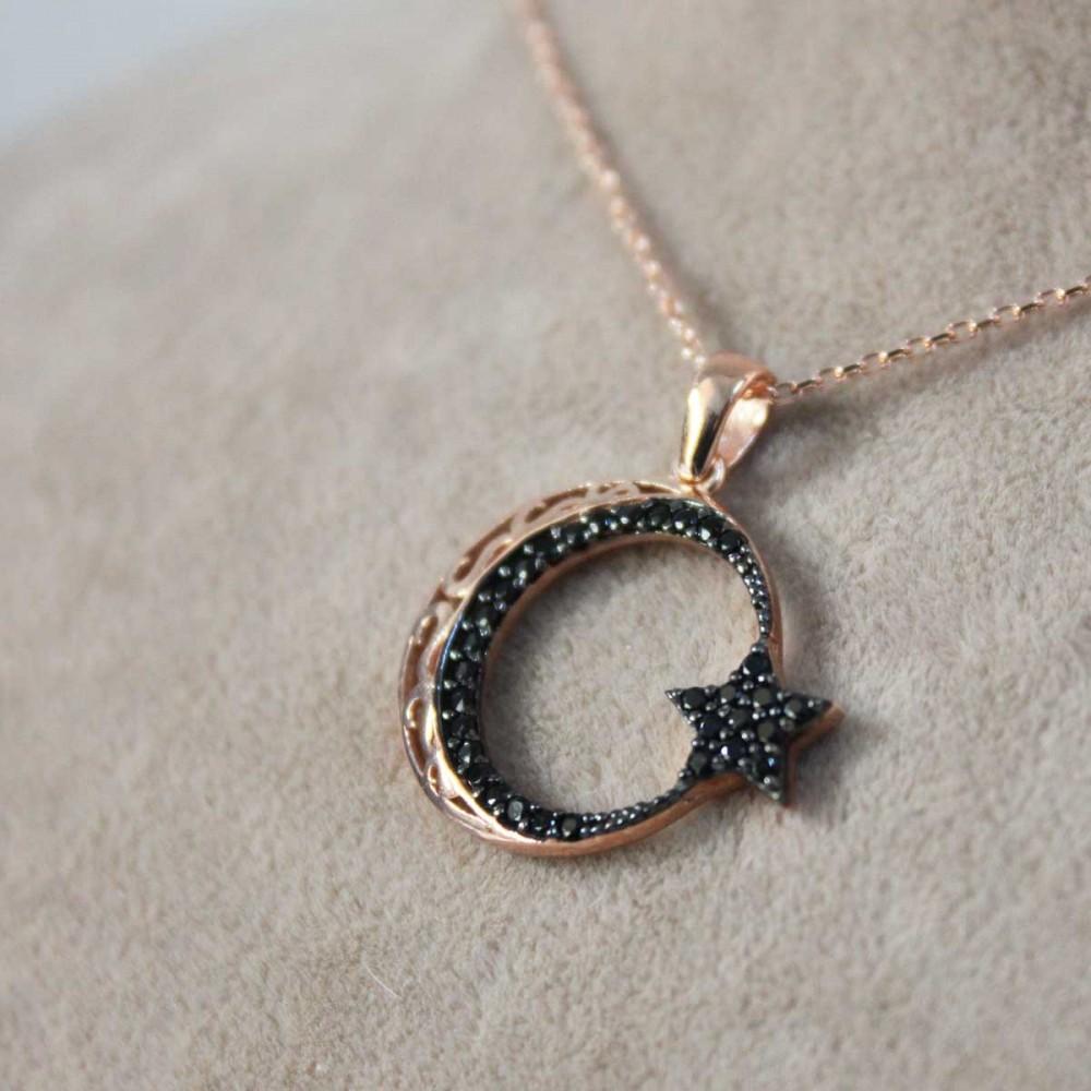 Safir Taşlı Ay Yıldız Gümüş Kolye MY100121R 6938 Thumb