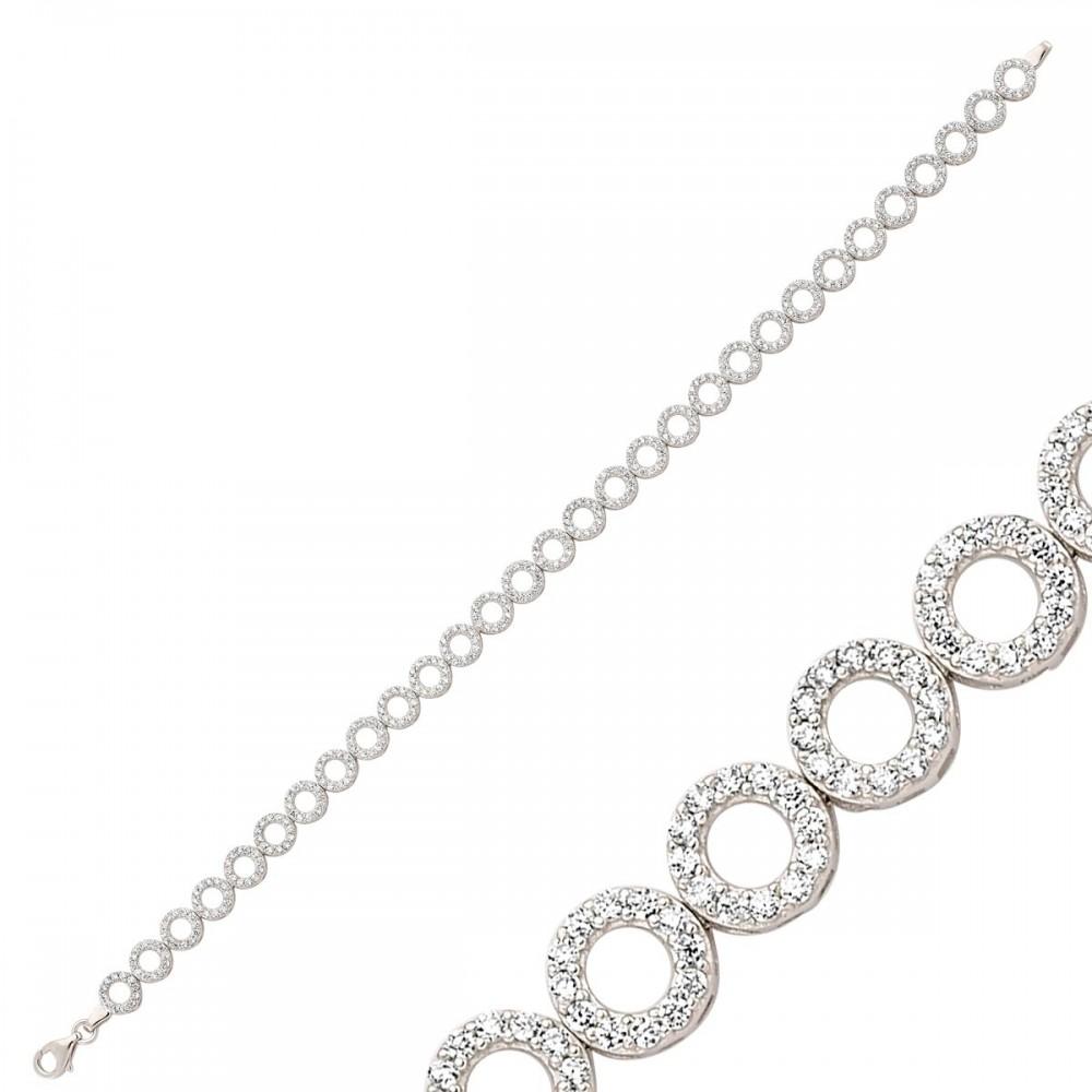 Zirkon Taşlı Sıralı Gümüş Bileklik Bayan MYSS0002 9249 Thumb