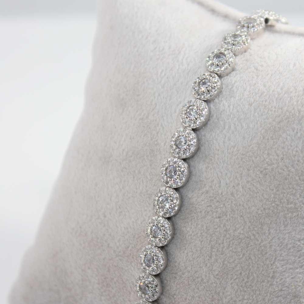 Zirkon Taşlı Sıralı Gümüş Bileklik Bayan MYSS0010 7067 Thumb