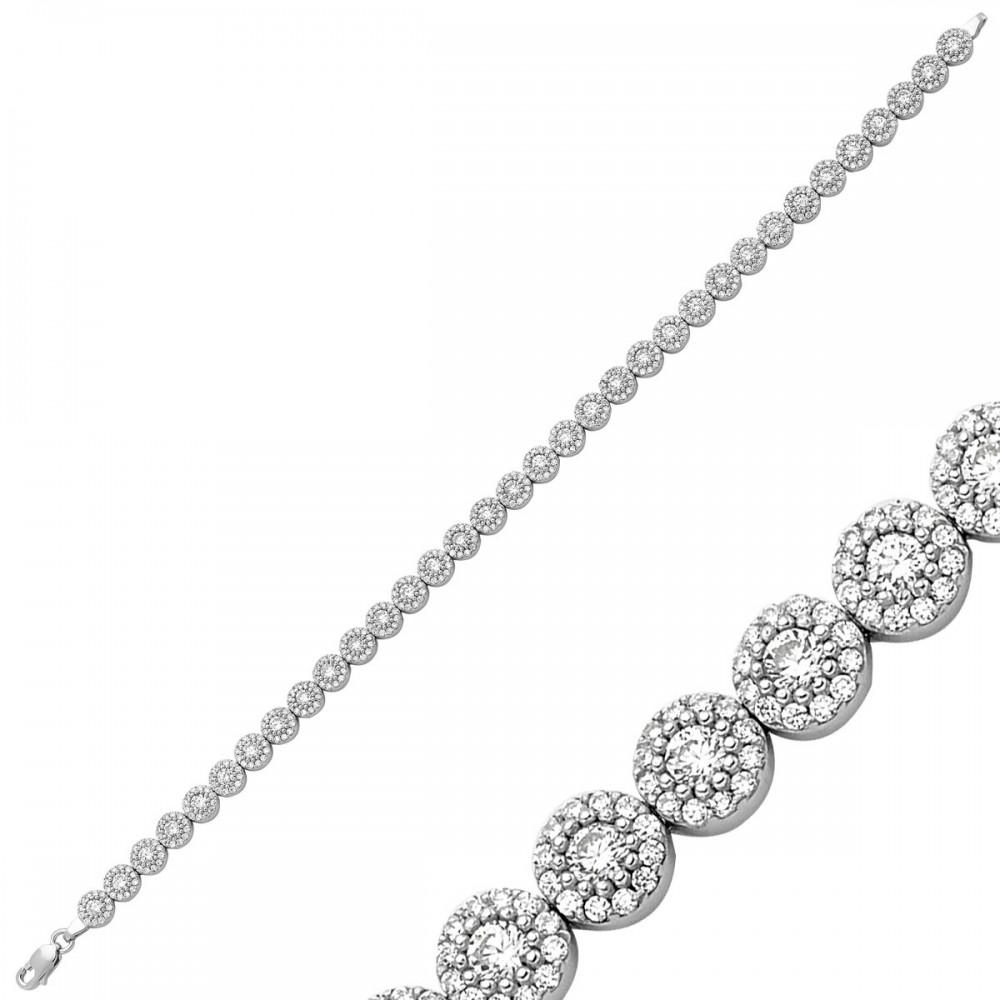 Zirkon Taşlı Sıralı Gümüş Bileklik Bayan MYSS0010 9258 Thumb