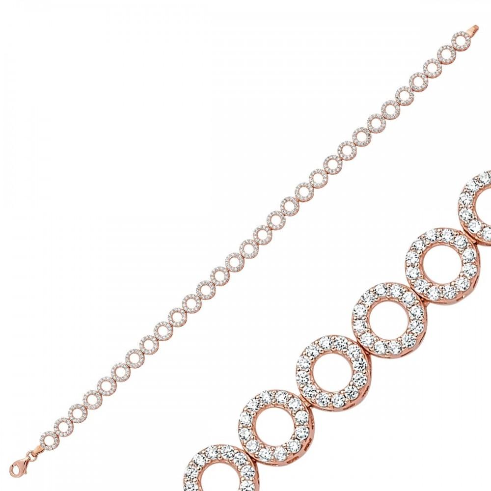Zirkon Taşlı Sıralı Rose Gümüş Bileklik Bayan MYSS0004 9252 Thumb
