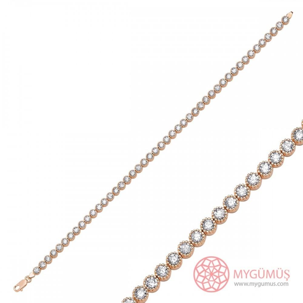 Zirkon Taşlı Sıralı Su Yolu Gümüş Bileklik MYS00012 9260 Thumb