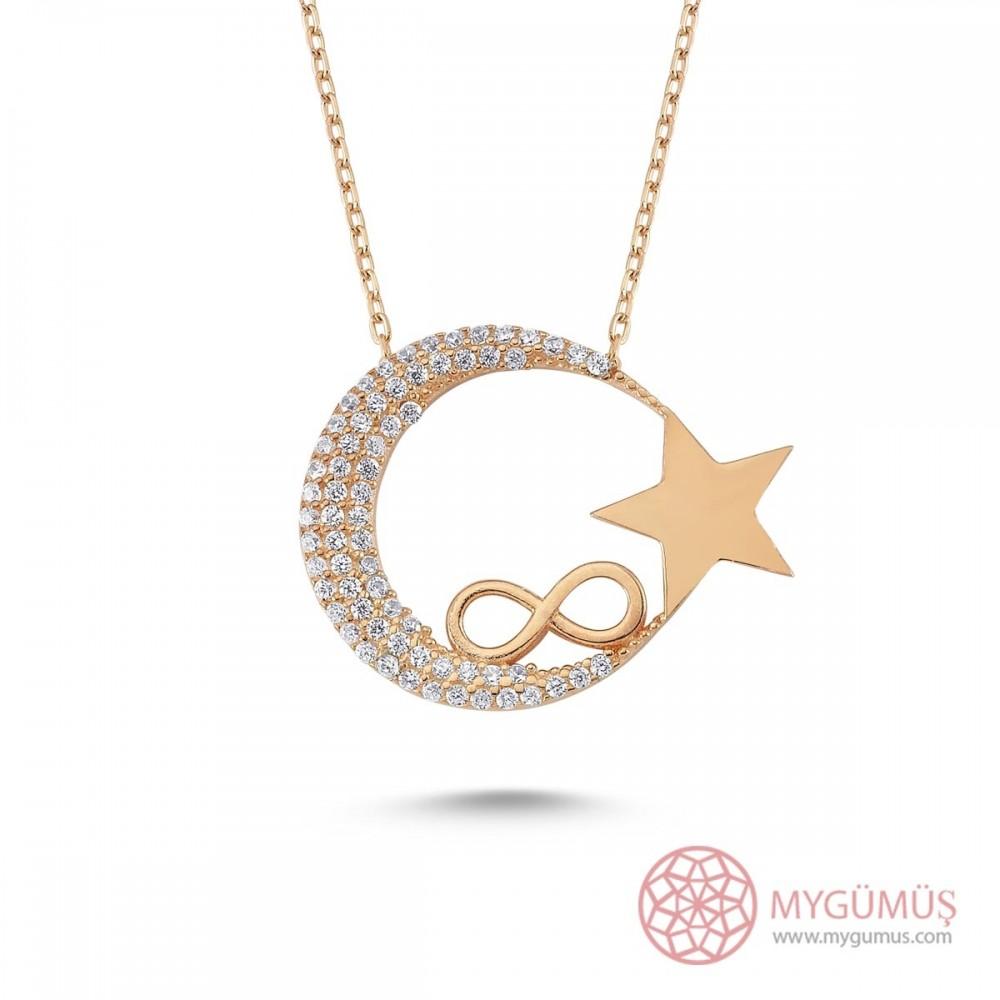 Sonsuzluk İşlemeli Ay Yıldız Gümüş Kolye MY0301010 9506 Thumb