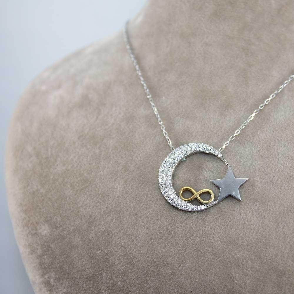 Sonsuzluk İşlemeli Ay Yıldız Gümüş Kolye MY0001008 8071 Thumb