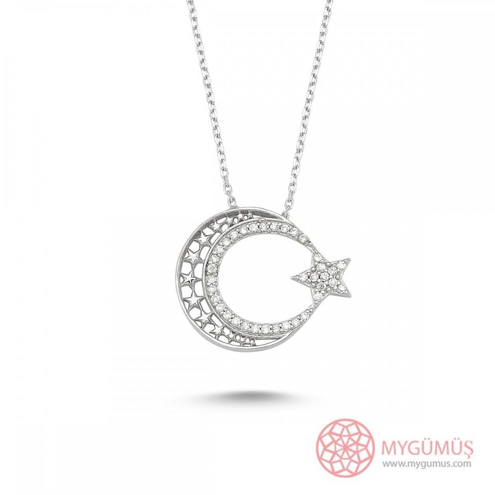 Yıldızlı Ay Yıldız Gümüş Kolye MY0001007 9483 Thumb