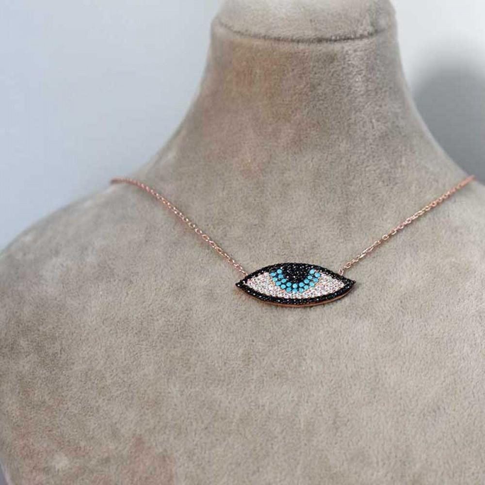 Zirkon ve Firuze Taşlı Gümüş Nazar Göz Kolye MY0201053 7380 Thumb