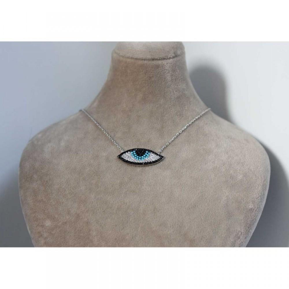 Zirkon ve Firuze Taşlı Gümüş Nazar Göz Kolye MY0201053 6698 Thumb