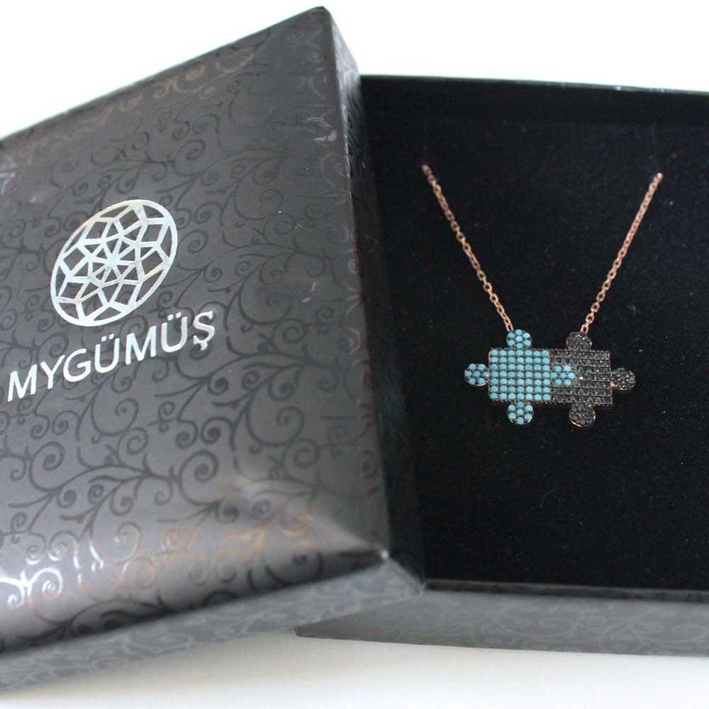 Taşlı Puzzle Gümüş Kolye MY0201023R 7273 Thumb