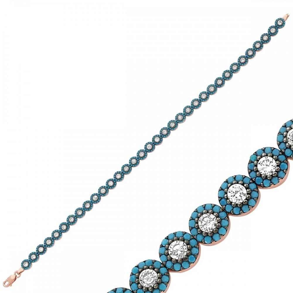 Zirkon ve Firuze Taşlı Sıralı Gümüş Bayan Bileklik MYSS0008 9256 Thumb