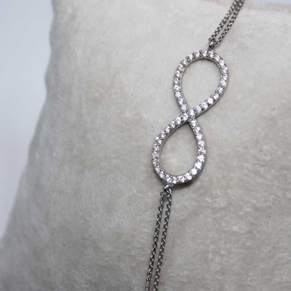 Zirkon Taşlı Sonsuzluk Gümüş Bayan Bileklik MYB0104 6907 Thumb