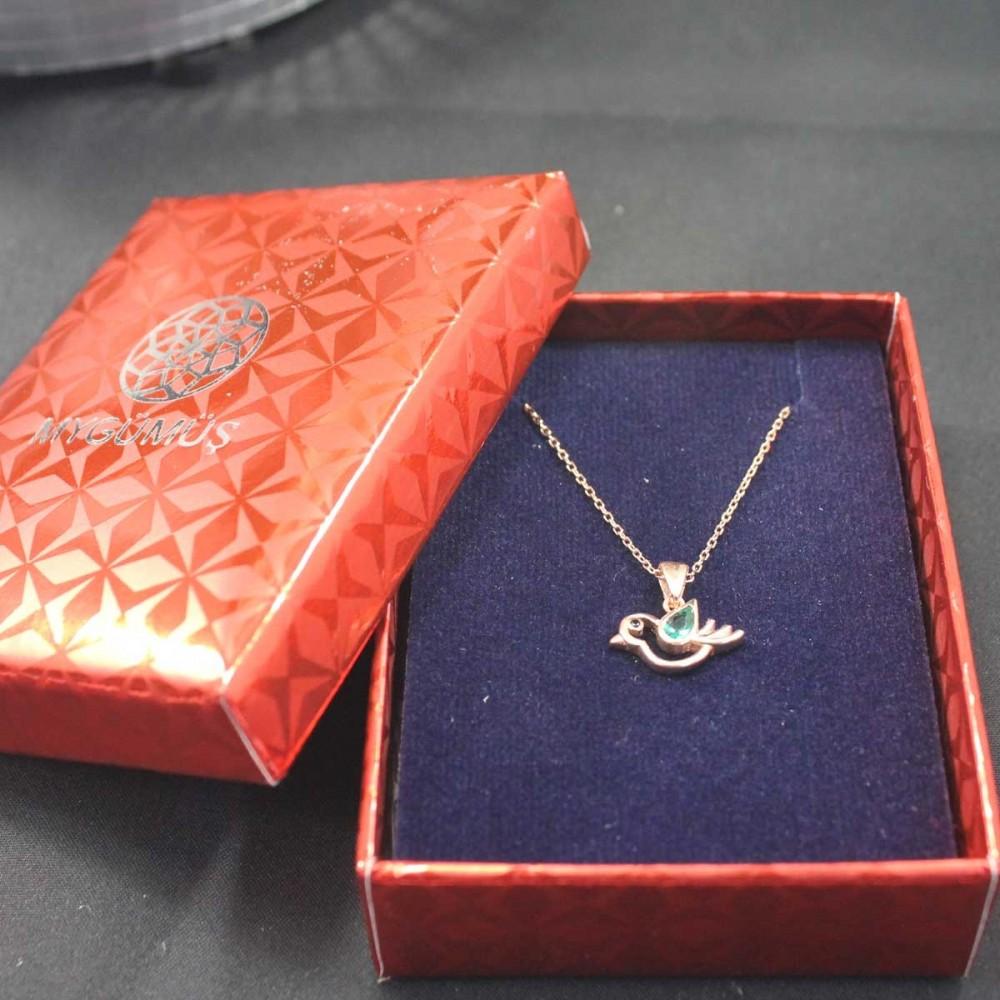 Zümrüt Taşlı Minik Serçe Gümüş Kolye MY101685 10461 Thumb